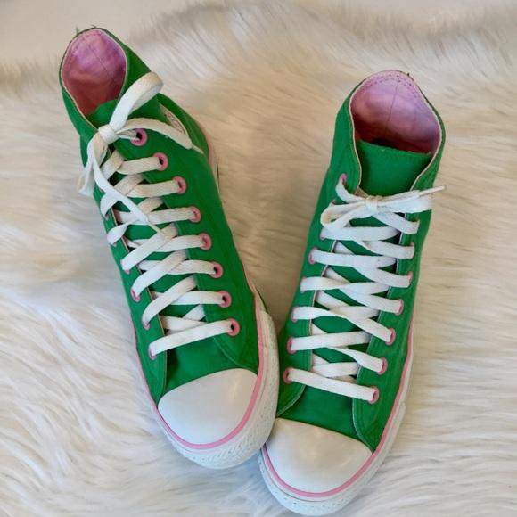 Star Pink Green High Tops 9 Euc | Poshmark